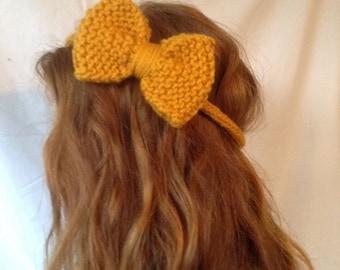 hand knit hair bows