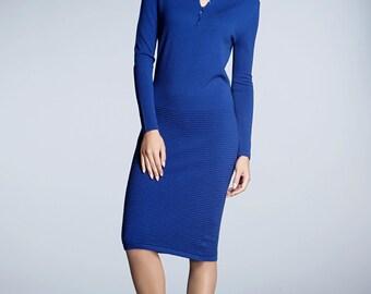 OLIVIA - Blue soft merino wool-blend knitted dress