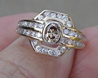 Unique 1 Carat VS Diamond Solitaire Ring 14K Yellow Gold