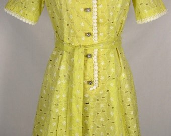 Vintage 1960s Yellow Cotton Eyelet Dress