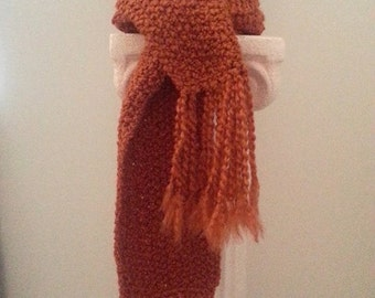 Handmade Crochet Women's / Junior's Boho Long Rust Frayed & Knotted Fringe Scarf