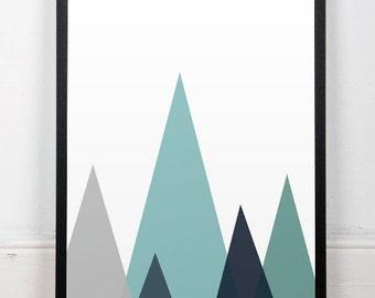 Mountains Print, Geometric Wall Art, Abstract Print, Blue Wall print, Triangles Print, Triangles Wall Art, Wall print, Geometric print