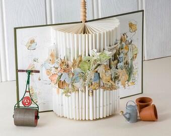 Beatrix Potters 'Peter Rabbit ' brought to life.  A Unique Book Sculpture perfect for nursery decor.