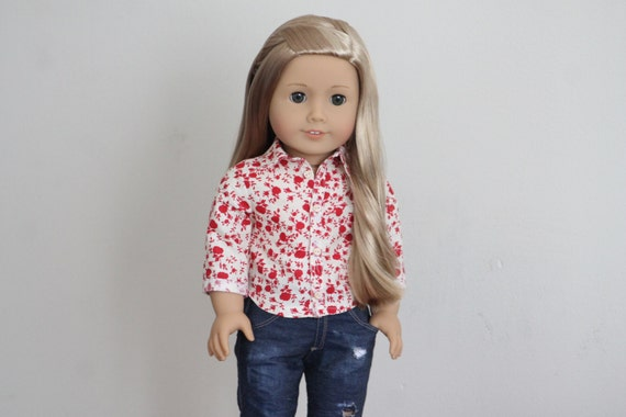 Cherry Red and Cream Floral Button Up Shirt for American Girl Dolls