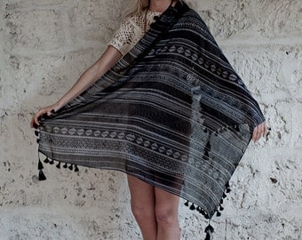 Tribal Fashion Scarf Summer Scarf Square Spring Scarf Beige Black Printed Scarf, Soft, Lightweight, Gifts For Her