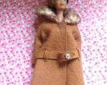 1960's Barbie Tan Coat and Hat - Faux Fur -  Original Barbie