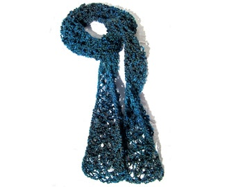 Lacy Love Knot Scarf, Blue/ Teal/ Brown
