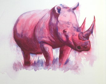 Pink Rhino Print from original Watercolour painting