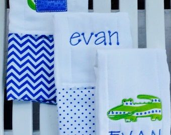 Personalized Alligator Burp Cloths! Set of 3 Premium Quality Burpies for Babies!