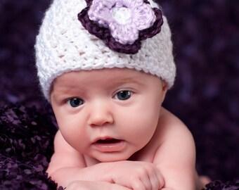 Baby Newborn Hat, Newborn Beanie, Baby Girl Beanie, Baby Girl Hat, Crochet Baby Hat, Newborn Baby Hat, Newborn Photo Prop, White Purple