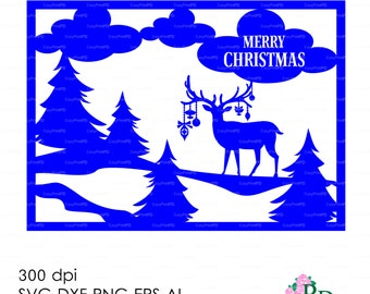 Sale 50% Christmas Deer Card Reindeer Хмаs Noel (svg, dxf, ai, eps, png) Vector ClipArt Cut file, Diecutting Silhouette Cameo EasyCutPrintPD