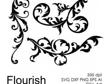 Flourish (svg, dxf, eps, ai, png) Overlays template, Scrapbooking Vector Die Cut Files for cutting machines Silhouette Cameo