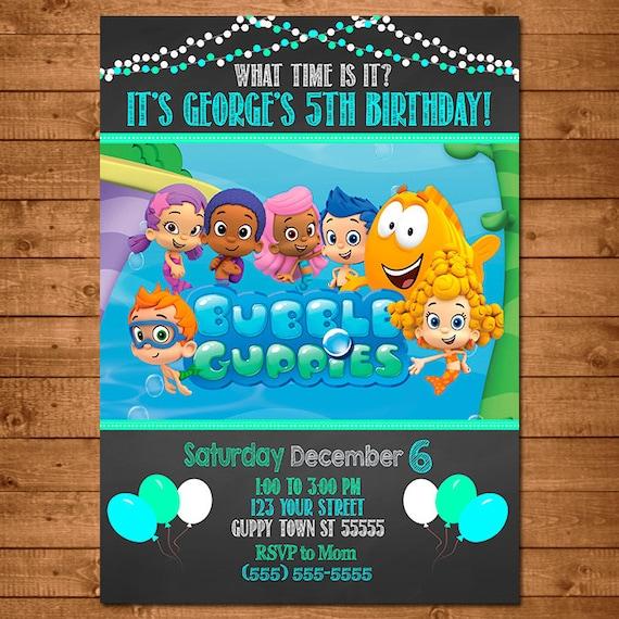 Bubble Guppies Invitation Chalkboard Theme -- Bubble Guppies Invite -- Bubble Guppies Birthday