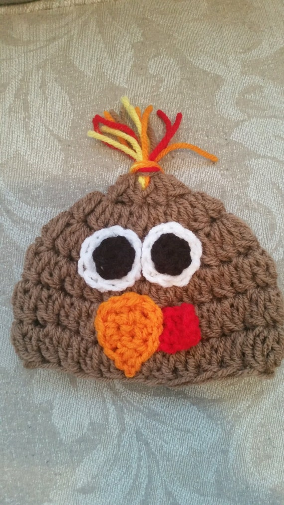Crochet Turkey Cat Hat Pattern : Crocheted Turkey Hat Pattern for Newborn by ChellesHatFactory