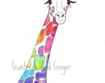 Colorful Giraffe Drawing