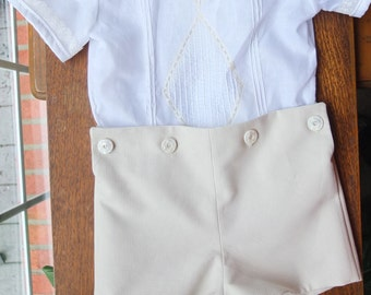 Little Boys Ringbearer or Portrait Button-on Pants Outfit