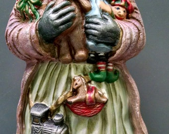 SALE!!!     English Toyland Santa -- Heirloom-quality handpainted ceramic Santa -- Christmas mantel decor