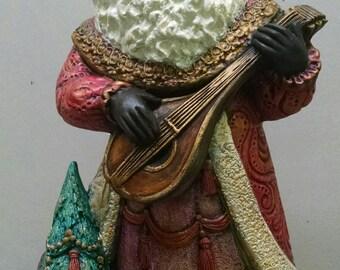 SALE!!!Renaissance Mandolin Santa  -- Heirloom-quality handpainted ceramic Santa -- Christmas mantel decor
