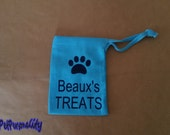 Personalised Dog Treat Bag with Paw Print for Training Classes or Walkies FREE UK P&P