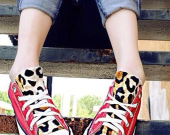 Red Leopard Print Converse Shoes