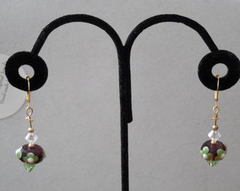 Swarovski Crystal Plum Purple Green Drop Earrings Czech Lampwork Dangle Earrings Handmade Mother's Day Gift