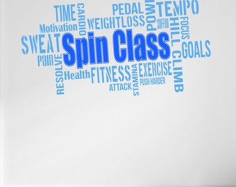 Pro Design SPIN CLASS Wall Decal Word Cloud Quote 5 colour/2 size choices