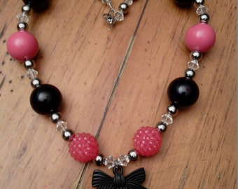 Pink and black Rose cameo chunky necklace