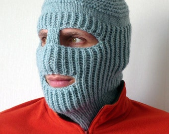Knit Ski Mask Hat, Balaclava Full Face Ski Mask, Winter Sports Hat, Outdoors gift, Knit Accessories, Strange and Unique Ski Mask Mens Winter