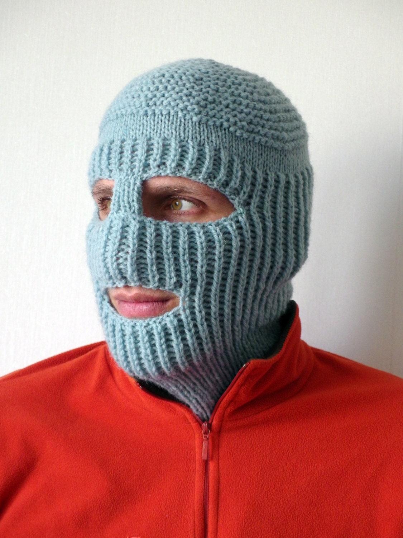 Ski Mask Knitting Pattern : Knit Ski Mask Hat Balaclava Full Face Ski Mask Winter Sports