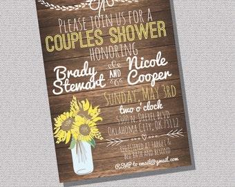 Printable Rustic Couples Wedding Shower Invitation