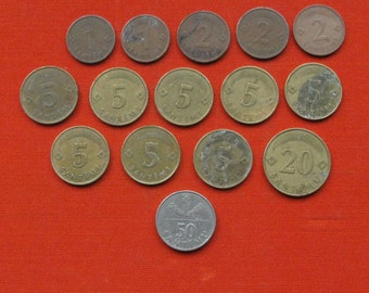 Set of 15 Latvian Coins. All coins from 1992