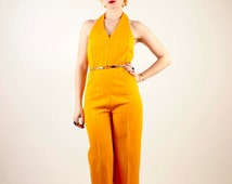70s Tangerine Wide Legged Pants Jumper With Halter Top/Size US 8/10