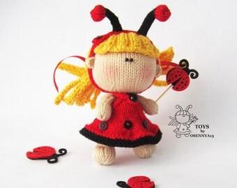Pebble Doll Ladybug - knitting pattern (knitted round), Amigurumi doll Ladybug, Amigurumi knitting pattern