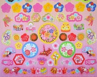 Japanese chiyogami paper stickers - origami cranes - sakura cherry blossoms - plum flowers - fans - temari balls - kanzashi hair accessories