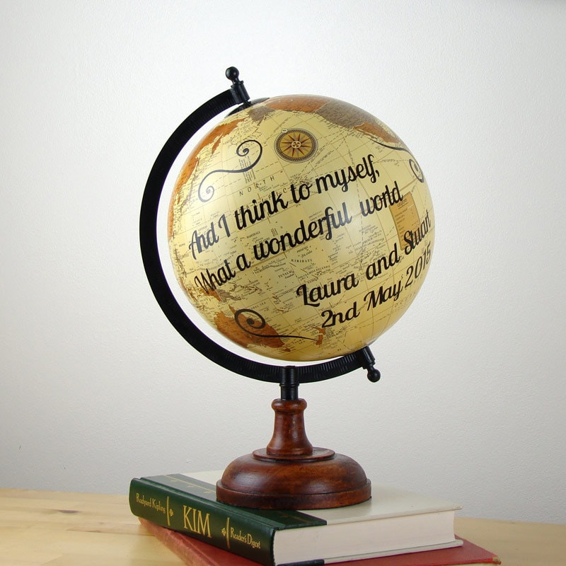 World Globe Personalised Wedding Gift Idea Unique