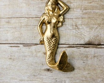 Mermaid Hook - Painted Cast Iron Hook - Towel Hook- Gold Bathroom Accessory- Nautical Hook - Decorative Hook - Cottage Chic Home Decor -