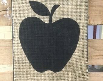 Burlap Apple Silhouette