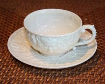 Belleek Mask Cup And Saucer Vintage Belleek Cup & Saucer Face of Bacchus Vintage Belleek of Ireland