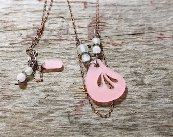 Acrylic Laser Cut Artisan Jewelry Pink Lucite Lux Necklace