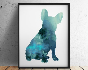Blue French Bulldog Art Print, Teal Dog Figurine Frenchie Silhouette Room Decor