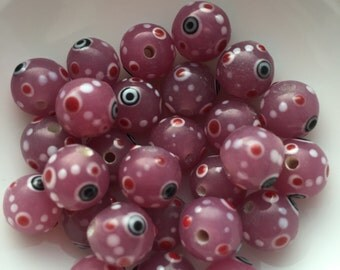 28 Glass Evil Eye Bead in Pink 10mm package of 28