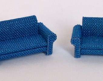 sofa and chair with armrests in fabric,scale 1/144