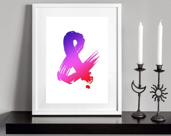 Colorful Ampersand. Printable and decorative wall art. Instant Download for 3 High Resolution JPEG files.