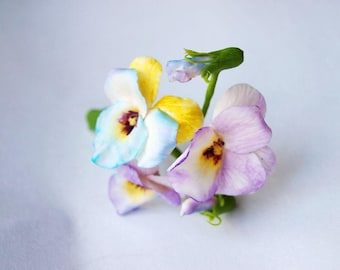 flower boutonniere with artificial pansies, unique prom boutonnieres, flowers