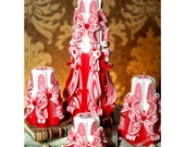 Free shipping. Carved canles set. Handmade candle. For Valentine Day. Strawberry collection. Uniques gift. For romantic atmosphere. 2015