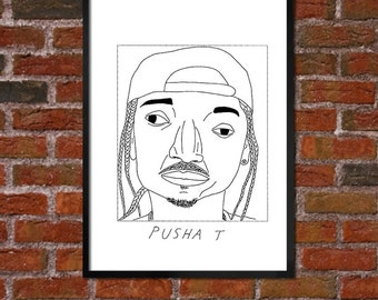 Badly Drawn Pusha T - Hip Hop Poster - *** BUY 4, GET A 5th FREE***