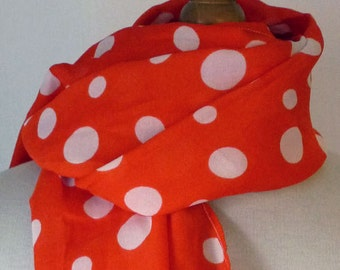 Scarf/stole vintage orange with white polka dots