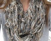 Gray and Brown Arm Knit Infinity Scarf