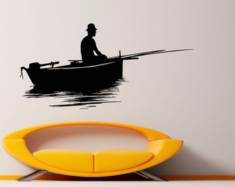 Fishing Wall Decal Vinyl Stickers Fisherman Art Design Interior Fishing Murals (41fis3r)