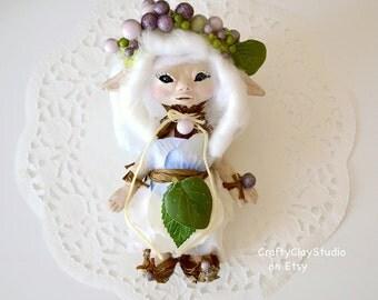 Fairy Sculpture - Fairy Doll - OOAK Fairy Doll - Pixie Sculpture - Polymer Clay Sculpture - Sculpted Doll - Sculpted Fairy - OOAK Doll